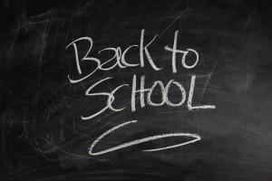 """""""Back to School"""" written on chalkboard"""